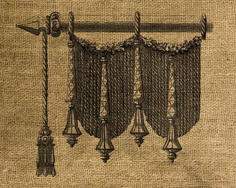 INSTANT DOWNLOAD - Vintage Drape and Tassel - Download and Print - Image Transfer - Digital Collage Sheet by Room29 - Sheet no. 158