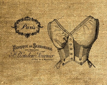 INSTANT DOWNLOAD French Corset Vintage Illustration Download and Print Image Transfer Digital Sheet by Room29 Sheet no. 264