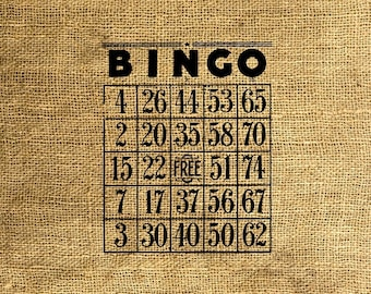 INSTANT DOWNLOAD - Vintage Bingo Cards - Download and Print - Image Transfer - Digital Collage Sheet by Room29 - Sheet no. 118