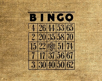 INSTANT DOWNLOAD - Vintage Bingo Cards - Download and Print - Image Transfer - Digital Collage Sheet by Room29 - Sheet no. 118