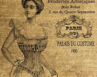 INSTANT DOWNLOAD French Corset Vintage Illustration - Download and Print - Image Transfer - Digital Collage Sheet by Room29 - Sheet no. 245