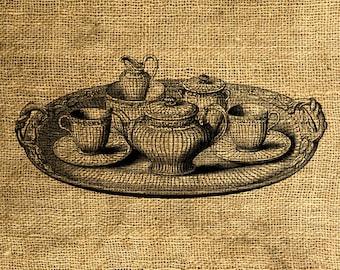 INSTANT DOWNLOAD - Vintage Tea Tray Illustration - Download and Print - Image Transfer - Digital Sheet by Room29 - Sheet no. 357