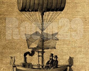 INSTANT DOWNLOAD - Airship Vintage Illustration - Download and Print - Image Transfer - Digital Sheet by Room29 - Sheet no. 367