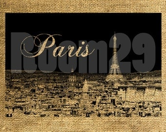 INSTANT DOWNLOAD Paris in Black and White Vintage Illustration - Download and Print - Image Transfer - Digital Sheet by Room29 Sheet no. 497