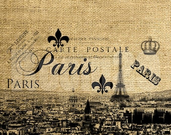 INSTANT DOWNLOAD Paris in Black and White Vintage Illustration - Download and Print - Image Transfer - Digital Sheet by Room29 Sheet no. 503