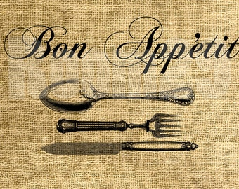 INSTANT DOWNLOAD Bon Appétit Vintage Illustration - Download and Print - Image Transfer - Digital Sheet by Room29 Sheet no. 504