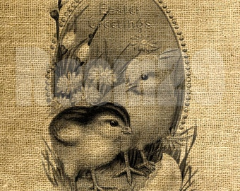 INSTANT DOWNLOAD Easter Greetings Vintage Illustration - Download and Print - Image Transfer - Digital Sheet by Room29 - Sheet no. 506