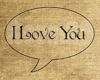 INSTANT DOWNLOAD I Love You - Download and Print - Image Transfer - Digital Sheet by Room29 - Sheet no. 521
