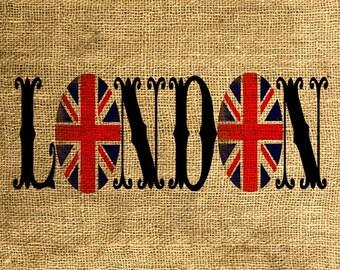 INSTANT DOWNLOAD LONDON Union Jack Vintage Font - Download and Print - Image Transfer - Digital Sheet by Room29 - Sheet no. 613