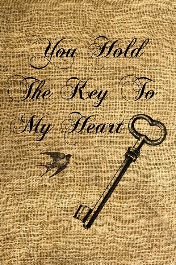 INSTANT DOWNLOAD - You Hold The Key To My Heart Download and Print Image Transfer Digital Sheet by Room29 Sheet no. 235