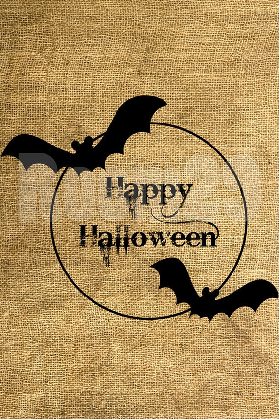 INSTANT DOWNLOAD Happy Halloween - Bat silhouettes and Moon - 2-in-1 - Image Transfer - Digital Sheet by Room29 - Sheet no. 434