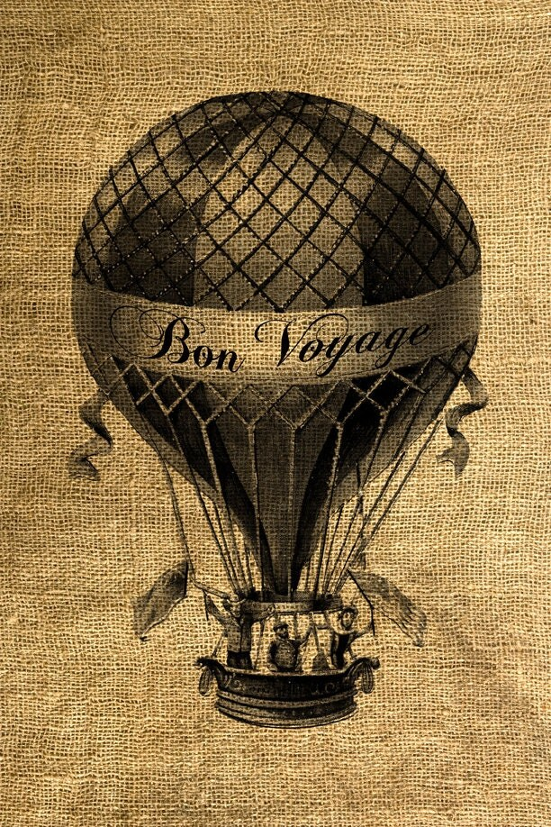INSTANT DOWNLOAD Bon Voyage Hot Air Balloon Vintage
