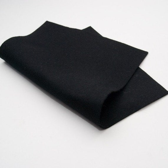 "100 Percent Wool Felt - Black - 18"" x 18"" size"