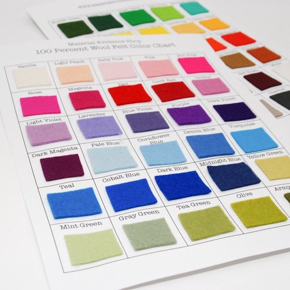 100 Percent Wool Felt Color Chart- 60 Colors