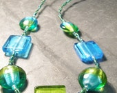 Lime and Aqua Silver Foil Bead Necklace
