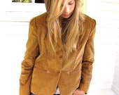 70s or 80s, Vintage Corduroy BLAZER coat , retro  jacket, camel color, fitted, size XS, by Zasra