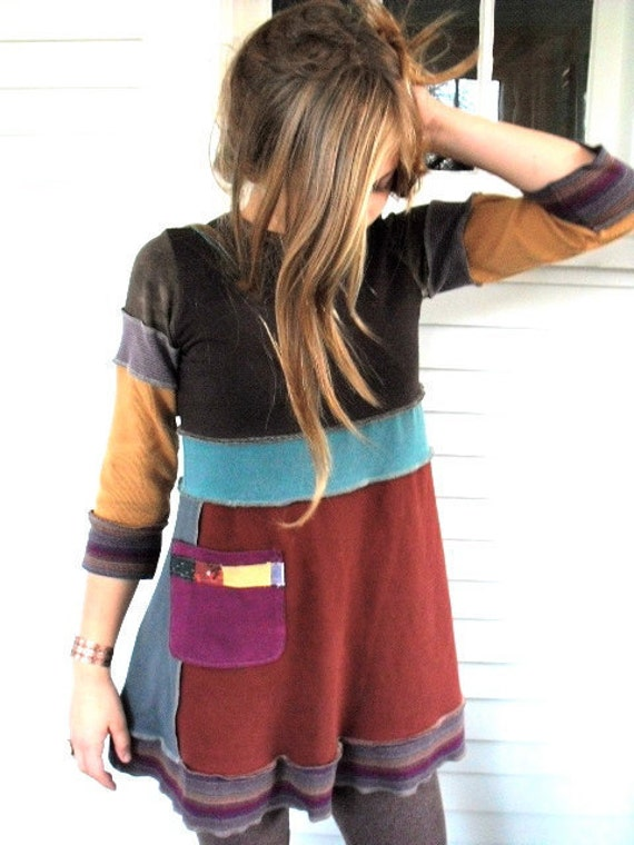 Upcycled Clothing,  tunic SHIRT, Eco Baby doll top, patchwork , 3 quarter length sleeves,  repurposed, color block,   size XS, by Zasra