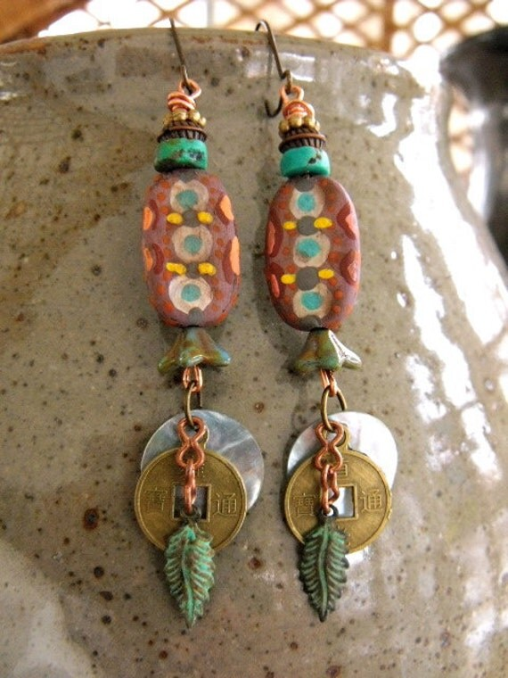 artisan EARRINGS,  charms, dangle, boho, lightweight,hand painted oval wooden beads, mixed media, glass  flower discs on copper , by Zasra