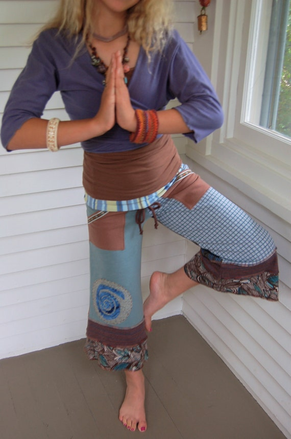 Patchwork Eco Gaucho PANTS, upcycled, clothing, cropped,  jersey, yoga, wide leg, pockets, earthy mix, spiral applique, size XS, by Zasra