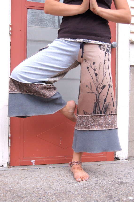Patchwork Eco Gaucho PANTS, upcycled, clothing, cropped, yoga, cargo pocket, neutral mix, size S/M  by Zasra
