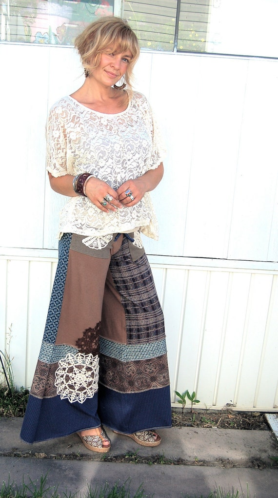 Eco Gaucho PANTS, patchwork, upcycled, clothing,   jersey, yoga ,long length, wide leg, shabby Chic  doily applique size S/M, by Zasra
