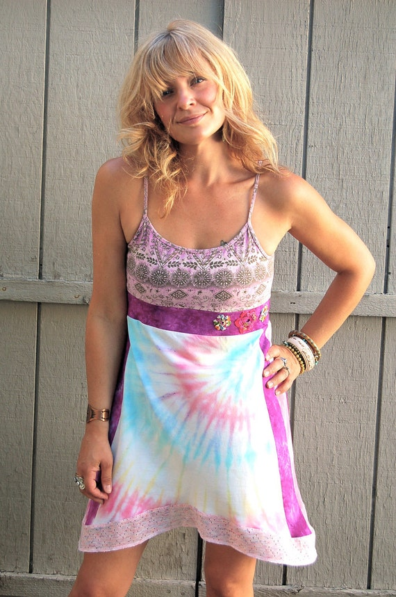 Eco tank DRESS, Upcycled Clothing, recycled, pink and purple tie dye mix ,hippie , festival, hand crocheted flowers,  S/M  by Zasra