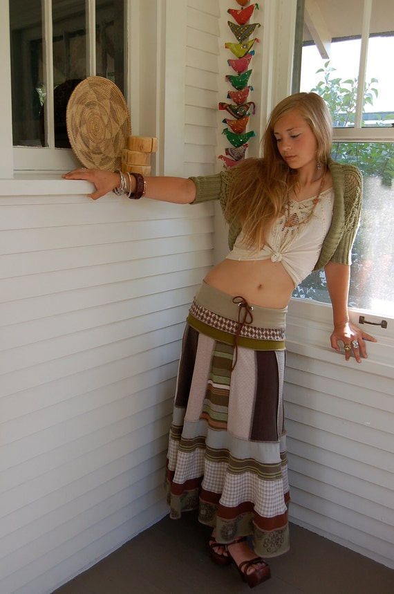 Eco long boho SKIRT, clothing, upcycled,  patchwork, repurposed jersey, green mix, festival,size S/M, by Zasra
