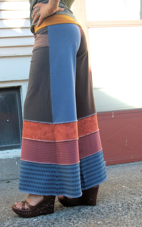Upcycled Clothing, patchwork Eco  Gaucho PANTS, repurposed  jersey, yoga, wide leg, pockets, color block,  size S/M by Zasra