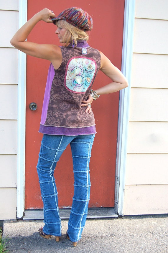 Clothing, Eco  wrap VEST,artisan, upcycled , patchwork clothing, asymmetrical, Om applique  size S-L , by Zasra