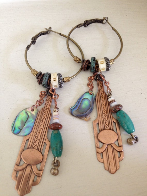EARRINGS hand beaded,antique copper art deco pendant, abalone shell, hoops, free people style, boho, lightweight by Zasra