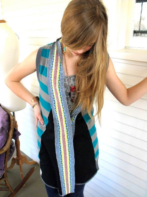 SALE, Eco Vest,  Wrap vest,  patchwork , upcycled clothing,  boho, hippie, swag, asymmetrical, egyptian applique  size XS/S , by Zasra