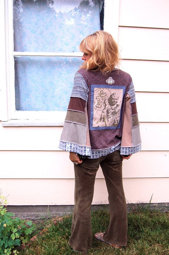 RESERVED, Eco Wrap Jacket, patchwork clothing, recycled, boho, festival, asymmetrical, buddha/Om applique, earthy mix size O/S , by Zasra