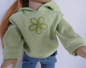 American Girl Doll Clothes and 18 Inch Doll Clothes-Long Sleeve Shirt with Hood- Celery Green Ready To Ship