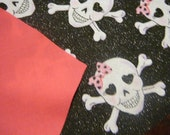 Skull with Pink Bow Reversible Tie On Dog Bandana Embroidered