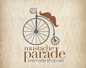 RESERVED/CUSTOM - Mustache Parade - OOAK Professional Premade Etsy Shop Set - Penny Farthing - Complete w/ Business Card