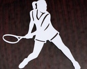 Vinyl Car Window Decal Girl Tennis Player