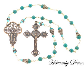Handmade Bronze Wire Wrapped Our Lady of Guadalupe Chaplet