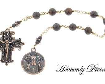 Bronze Wire Wrapped St Benedict Prayer Chaplet