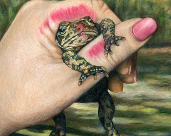 The Wrong One - Princess kissing Frog art matted giclee print