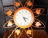 Vintage Orange Wall Clock United