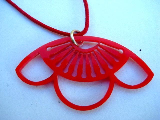 Red Acrylic Sakura Pendant