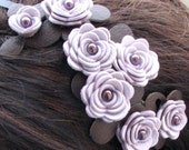 Purple flower headband leather lavender roses moss green leaves on metal hairband, floral wedding tiara Tiara woodland wedding