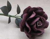 Maroon Leather Rose, Third Wedding Anniversary Gift Long Stem Flower Valentine's Day 3rd Leather Anniversary