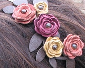 Flower headband leather yellow pink burgundy roses, moss green leaves on skinny metal hairband, flower wedding tiara woodland wedding prom