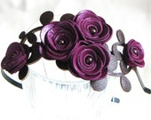 Purple flower headband leather amethyst roses green leaves bridal hairband woodland wedding floral tiara prom