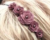 Flower Headband Bridal Headband Hair Accessories Wedding Hairpiece Mauve Hairband Leather Headband prom wearable art