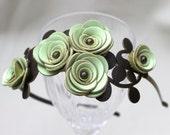 Bridal hair flower headband leather headband floral headband wedding hair accessory woodland wedding hairpiece green leather rose prom