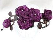 Flower headband purple bridal hairpiece woodland wedding headband floral tiara hair accessory
