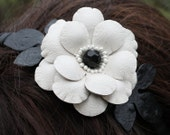 Black white flower headband fascinator leather camellia woodland wedding 3 year anniversary gift