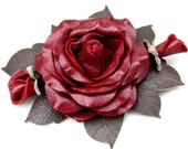Red rose leather flower pin green leaves floral brooch corsage 3 year anniversary gift